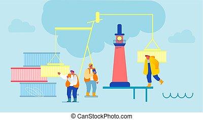 rév, nemzetközi, hajózás, világ-, vektor, végső, karikatúra, kikötő, logisztika, munkás, service., berakodás megnyirbál, tengeri, rakomány, kinyúl, ship., ábra, lakás, distribution., világítótorony