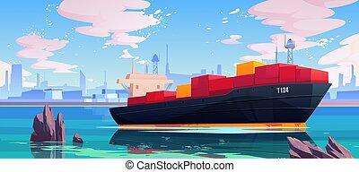 rév, tenger, ipari összekapcsol, edény, hajó, rakomány