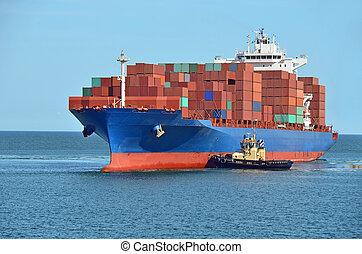 révkalauzhajó, elősegít, tároló hajó, rakomány
