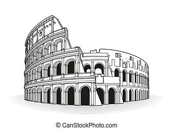 róma, szórakozottan firkálgat, amfiteátrum, kéz, húzott, ikon, áttekintés