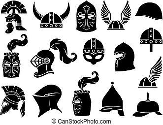 római, harcos, spartan, vektor, normann, hadi, vagy, knight), sisakok, viking, ikonok, állhatatos, görög, középkori, (ancient, gall