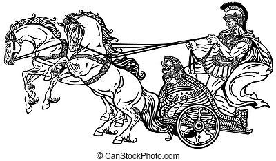 római, versenyszekér, fekete, fehér