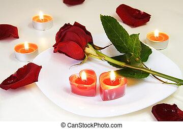 rózsa, asztal, romantikus, csábító, gyertya