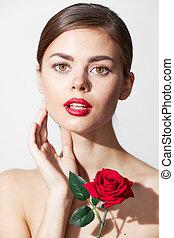 rózsa, bájos, woman hulla, tehetség, törődik