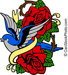 rózsa, bevesz, embléma, elképzel