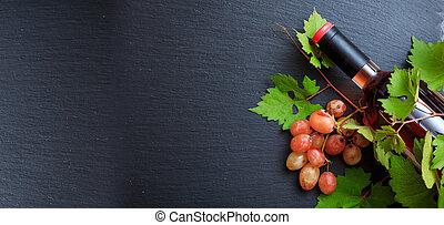 rózsa bor, friss, másol, háttér, black szőlő, palack, hely