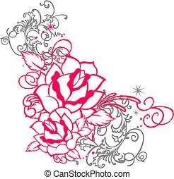 rózsa, díszítés, felcsavar, portré