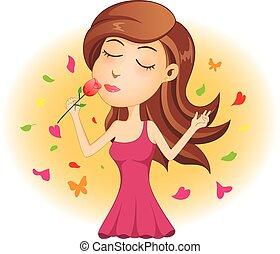rózsa, hölgy, fiatal, piros, szaglás