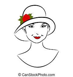 rózsa, leány, arc, kalap, szüret
