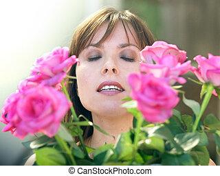 rózsa, leány, boldog