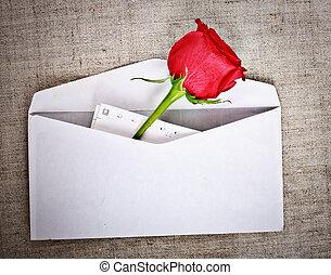 rózsa, piros, levél
