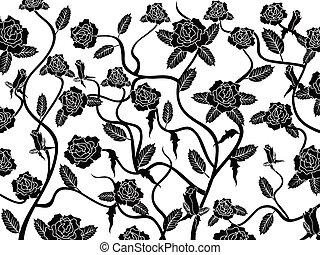 rózsa, seamless, háttér példa