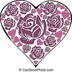 rózsa, szív