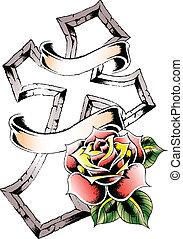 rózsa, törzsi, kereszt