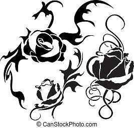 rózsa, vektor, állhatatos, ábra, tetovál