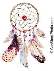 rózsafüzér, ábra, feathers., dreamcatcher, vízfestmény