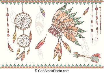 rózsafüzér, fogójátékos, horgol, kéz, amerikai, húzott, álmodik, bennszülött