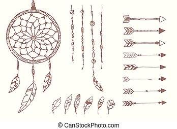 rózsafüzér, fogójátékos, horgol, nyílvesszö, kéz, amerikai, húzott, álmodik, bennszülött