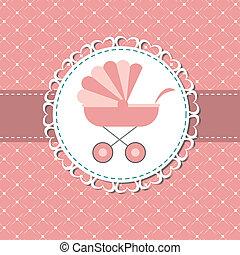 rózsaszínű, ábra, újszülött, kocsi, vektor, csecsemő lány