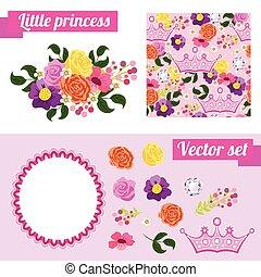 rózsaszínű, állhatatos, virágos, keret, gyűjt, alapismeretek, princess., crown.
