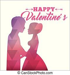 rózsaszínű, árnykép, elvont, valentines, szeret, párosít, boldog