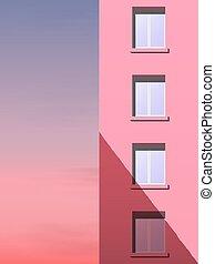 rózsaszínű, épület, multi-storey, ellen, rész, ég