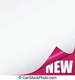rózsaszínű, új, vektor, sarok