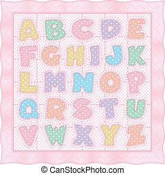 rózsaszínű, abc, paplan, pasztell