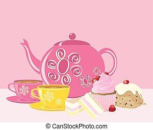rózsaszínű, afternoon tea