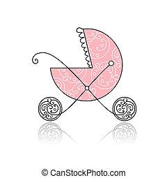 rózsaszínű, babakocsi, tervezés, -e