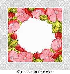 rózsaszínű, babarózsa, keret, köszönés, vízfestmény, kártya