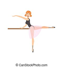 rózsaszínű, balett, táncol, gyakorlás, lengyel, leány, alj, osztály