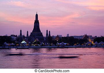 rózsaszínű, bangkok, napnyugta, thaiföld, arun, félhomály, wat