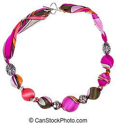 rózsaszínű, barna, labda, fém, nyaklánc, selyem