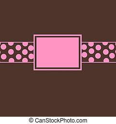 rózsaszínű, barna, meghív, &, polka tarkít