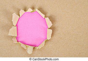 rózsaszínű, barna papír, felrobbanás, háttér.