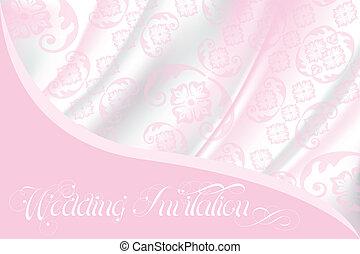 rózsaszínű, befűz, fény, esküvő invitation, selyem