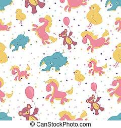 rózsaszínű, blue léggömb, színezett, teddy-mackó, seamless, ábra, chicken., csillaggal díszít, hord, háttér, elefánt, egyensúlyozó, gyerekek, ló