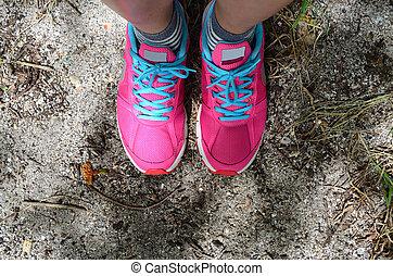rózsaszínű, cipő, tengerpart homok, emelet, sport
