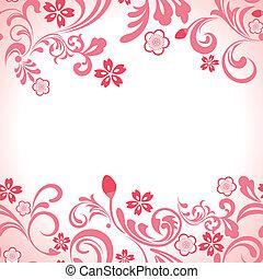 rózsaszínű, cseresznye, keret, seamless, kivirul