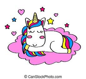 rózsaszínű, csinos, alvás, egyszarvú, cloud.
