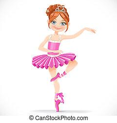rózsaszínű, csinos, barna nő, balerina, tánc, elszigetelt, háttér, leány, ruha, fehér