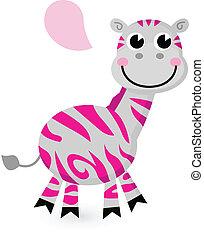 rózsaszínű, csinos, fehér, elszigetelt, zebra