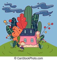 rózsaszínű, csinos, kevés, vektor, land., épület, gyerekes, körülvett, lány, fedő, vagy, kobold, képzelet, könyv, tervezés, kártya, szórakozottan firkálgat, plants., fairytale, táj