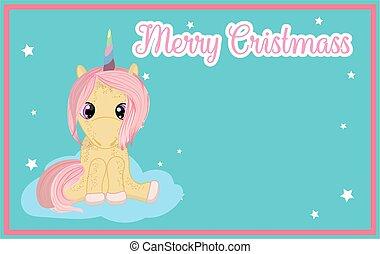 rózsaszínű, csinos, oda, text.., állás, unicorn., év, új, -e, kártya