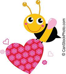 rózsaszínű, csinos, szeret szív, repülés, elszigetelt, méh, fehér