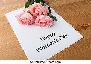 rózsaszínű, csokor, agancsrózsák, üzenet, boldog, nap, nők