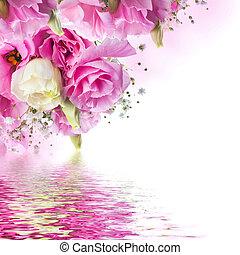 rózsaszínű, csokor, agancsrózsák, háttér, virágos, lepke