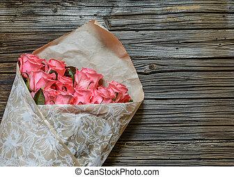 rózsaszínű, csokor, göngyöleg tehetség, agancsrózsák