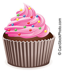 rózsaszínű, cupcake